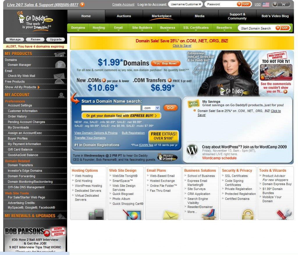GoDaddy-Home-Page
